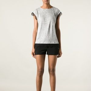 Marc by Marc Jacobs lace trim top in grey size xs